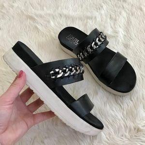 Karl Lagerfeld Slip On Platform Black White Sandal